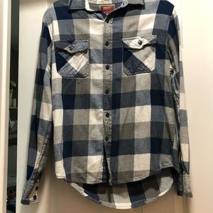 Men's Sizs M blue and white plaid button up